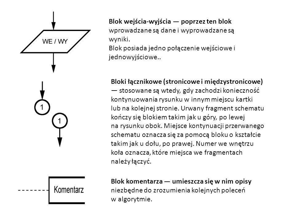 Blok wejścia-wyjścia — poprzez ten blok wprowadzane są dane i wyprowadzane są wyniki.