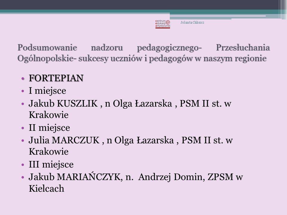 Wyróżnienia: Radosław GOŹDZIKOWSKI- POSM II st.w Krakowie, n.