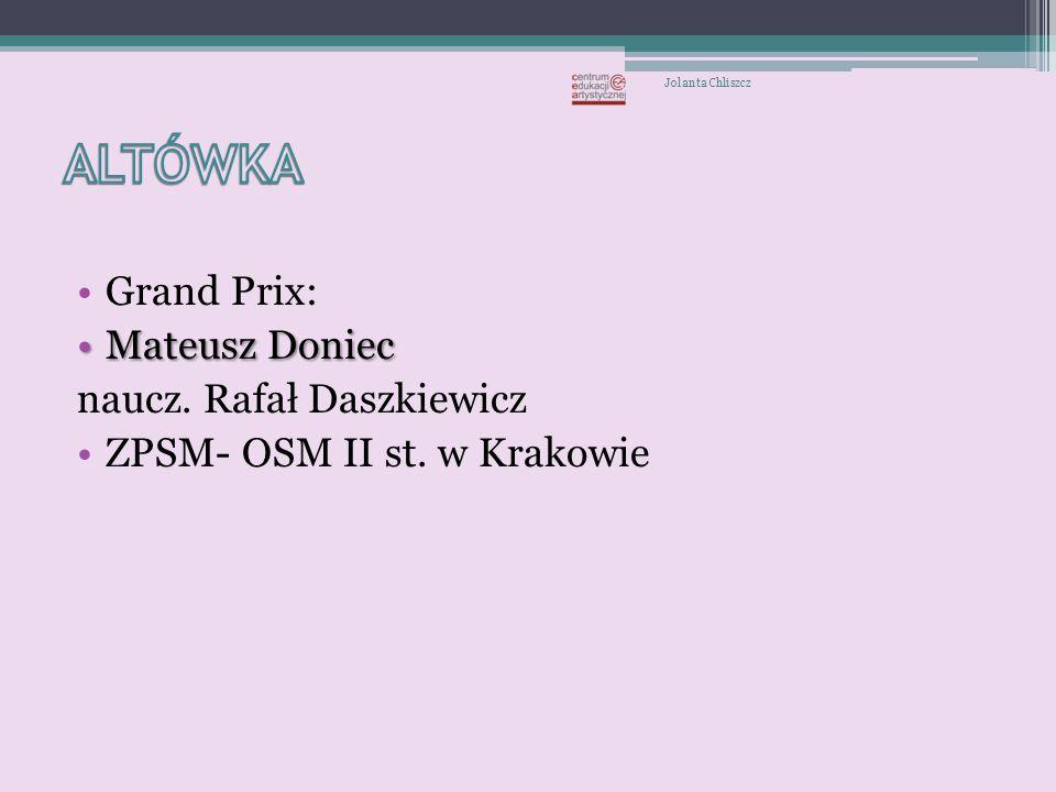 Krakowska Zawodowa Szkoła Baletowa Ewelina Wszołek- dyplomantka Międzynarodowego Konkursu Baletowego we Florencji Jolanta Chliszcz