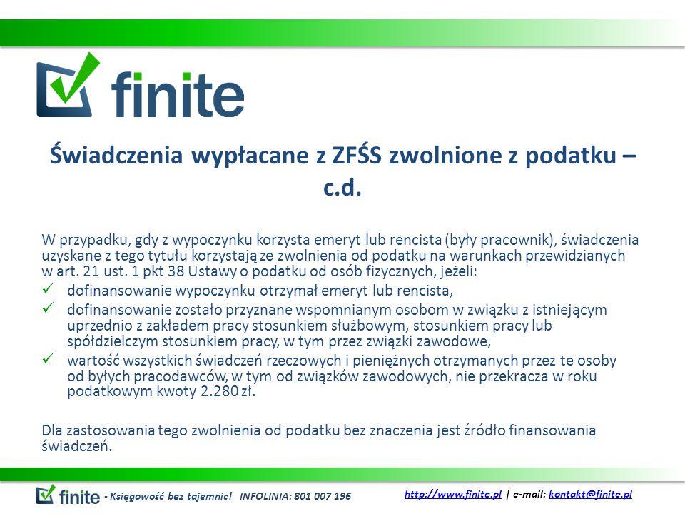 Świadczenia wypłacane z ZFŚS zwolnione z podatku – c.d.