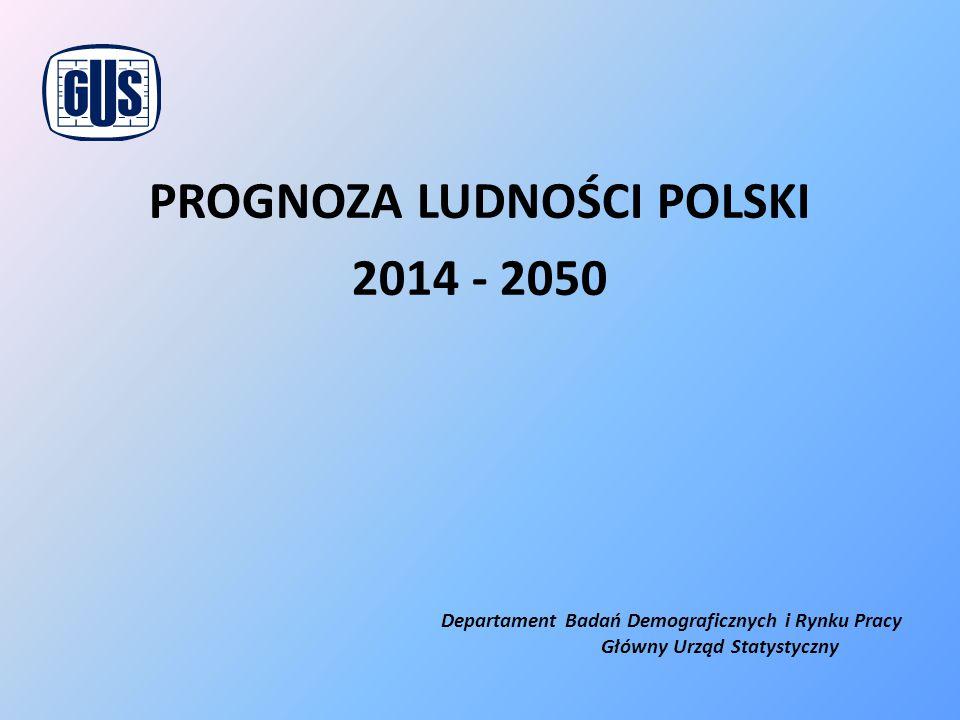 PROGNOZA LUDNOŚCI POLSKI 2014 - 2050 Departament Badań Demograficznych i Rynku Pracy Główny Urząd Statystyczny