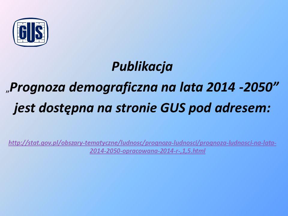 """Publikacja """" Prognoza demograficzna na lata 2014 -2050"""" jest dostępna na stronie GUS pod adresem: http://stat.gov.pl/obszary-tematyczne/ludnosc/progno"""