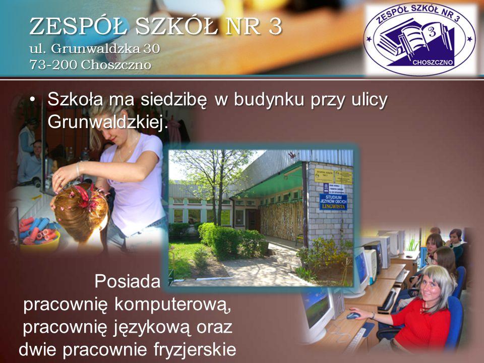 Posiada pracownię komputerową, pracownię językową oraz dwie pracownie fryzjerskie Szkoła ma siedzibę w budynku przy ulicy Grunwaldzkiej.Szkoła ma sied