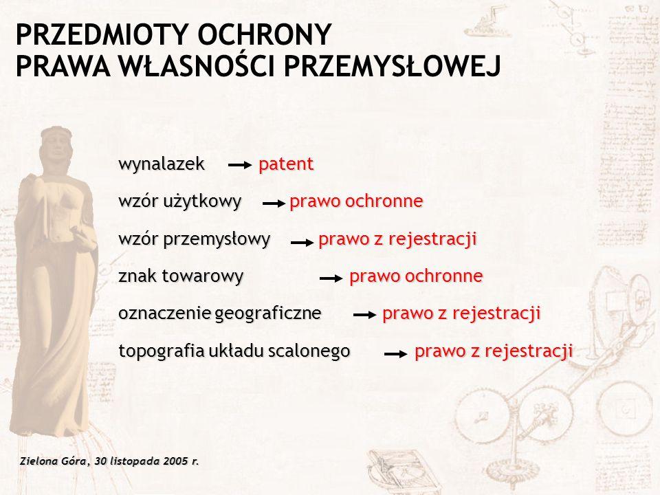 Zielona Góra, 30 listopada 2005 r. wynalazek patent wzór użytkowy prawo ochronne wzór przemysłowy prawo z rejestracji znak towarowy prawo ochronne ozn
