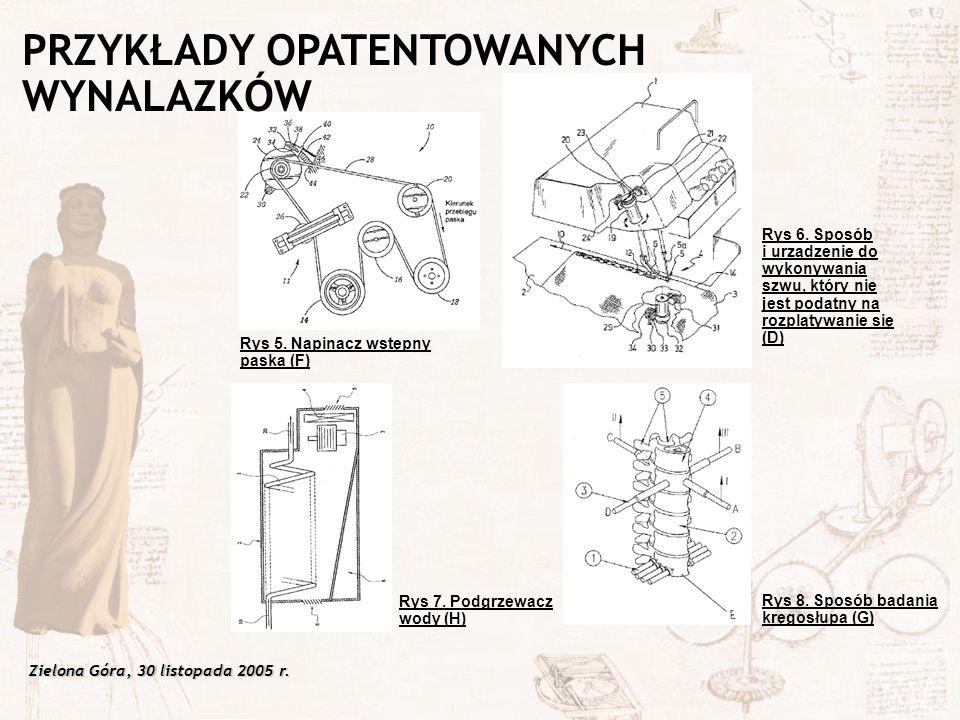 Zielona Góra, 30 listopada 2005 r. Rys 6. Sposób i urządzenie do wykonywania szwu, który nie jest podatny na rozplątywanie się (D) Rys 5. Napinacz wst
