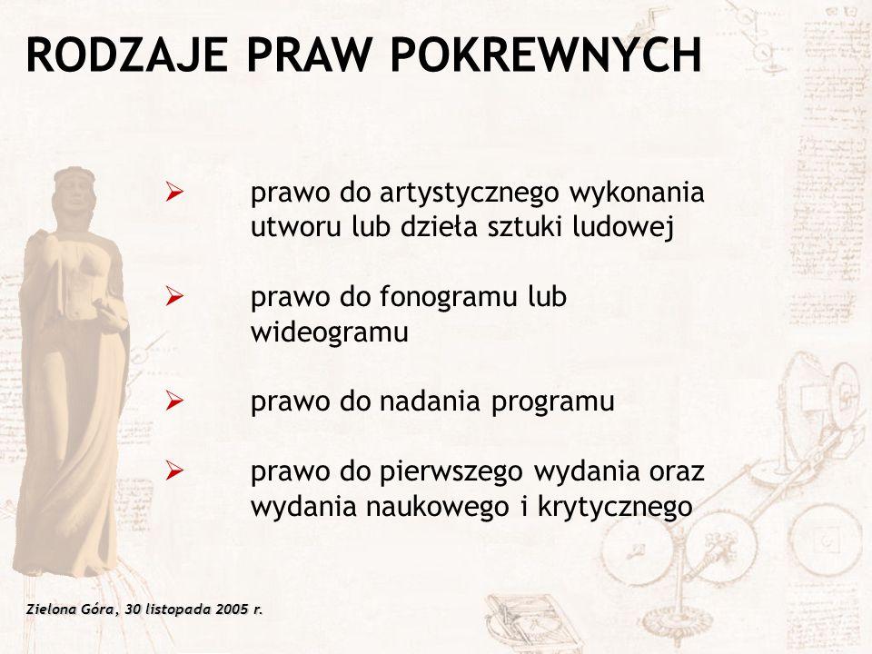 Zielona Góra, 30 listopada 2005 r.  prawo do artystycznego wykonania utworu lub dzieła sztuki ludowej  prawo do fonogramu lub wideogramu  prawo do