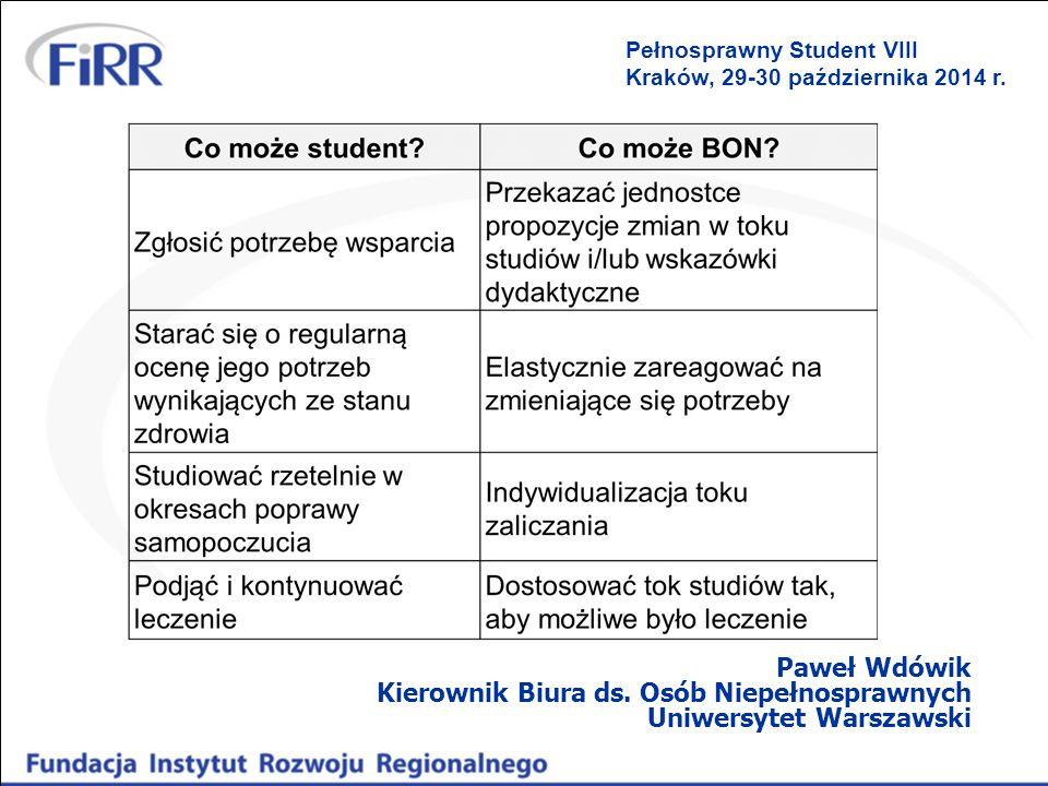 Paweł Wdówik Kierownik Biura ds. Osób Niepełnosprawnych Uniwersytet Warszawski Pełnosprawny Student VIII Kraków, 29-30 października 2014 r.