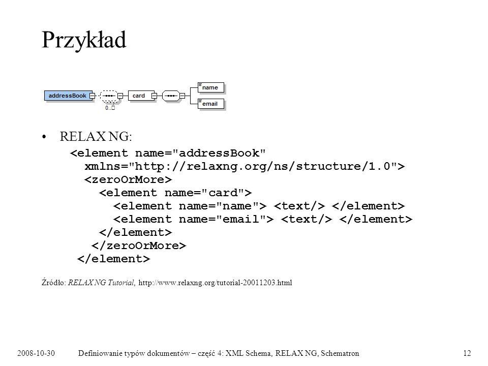 2008-10-30Definiowanie typów dokumentów – część 4: XML Schema, RELAX NG, Schematron12 Przykład RELAX NG: Źródło: RELAX NG Tutorial, http://www.relaxng