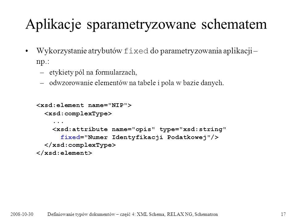 2008-10-30Definiowanie typów dokumentów – część 4: XML Schema, RELAX NG, Schematron17 Aplikacje sparametryzowane schematem Wykorzystanie atrybutów fix