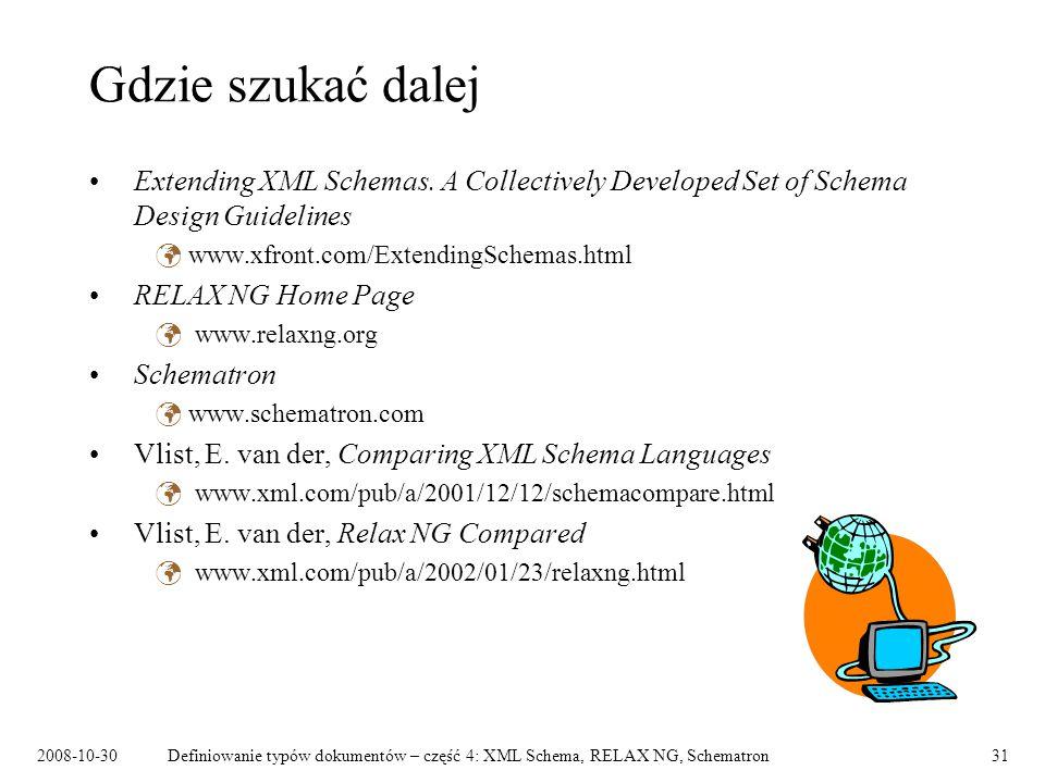 2008-10-30Definiowanie typów dokumentów – część 4: XML Schema, RELAX NG, Schematron31 Gdzie szukać dalej Extending XML Schemas. A Collectively Develop