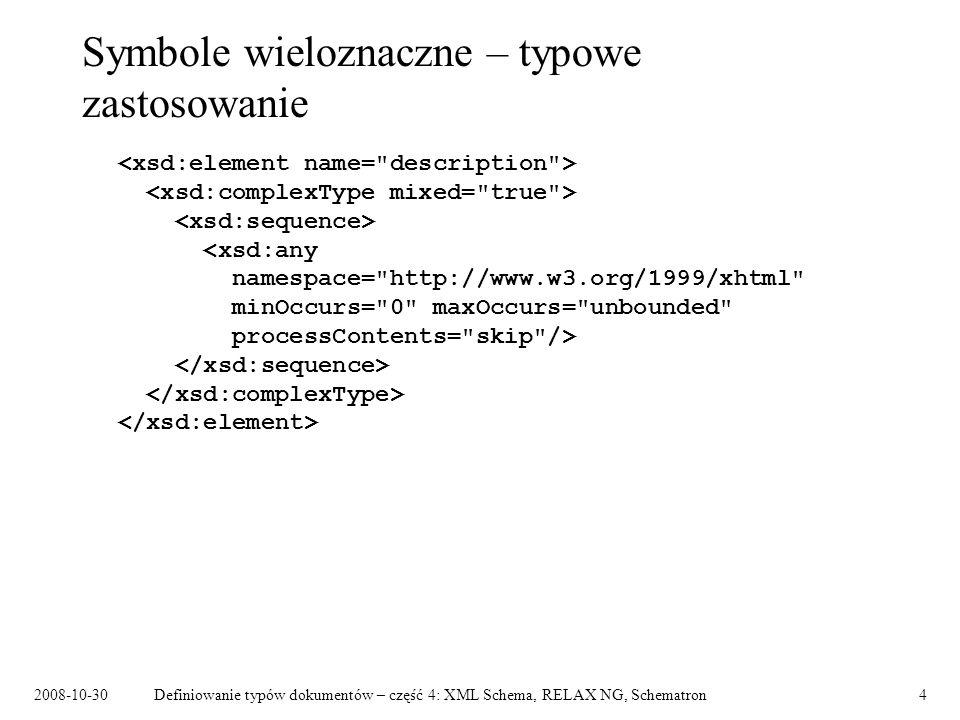 2008-10-30Definiowanie typów dokumentów – część 4: XML Schema, RELAX NG, Schematron15 Zarządzanie zmianami struktury Zmiany niekompatybilne wstecz – przykład: –dodanie elementu wymaganego.