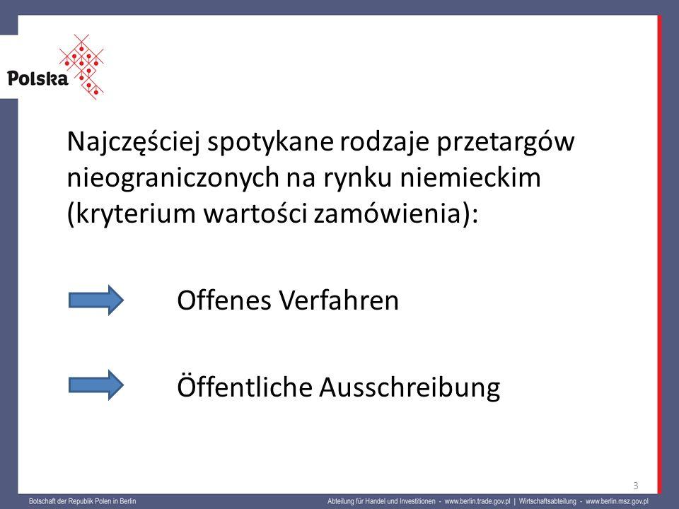 Najczęściej spotykane rodzaje przetargów nieograniczonych na rynku niemieckim (kryterium wartości zamówienia): Offenes Verfahren Öffentliche Ausschrei