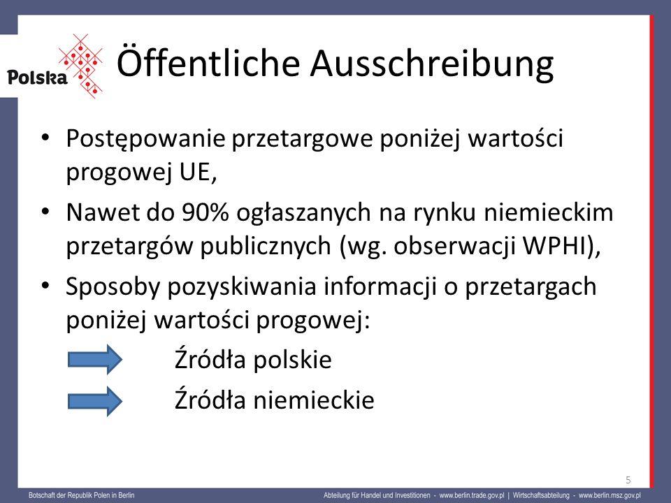 Öffentliche Ausschreibung Postępowanie przetargowe poniżej wartości progowej UE, Nawet do 90% ogłaszanych na rynku niemieckim przetargów publicznych (