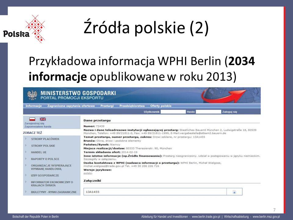Źródła polskie (2) Przykładowa informacja WPHI Berlin (2034 informacje opublikowane w roku 2013) 7