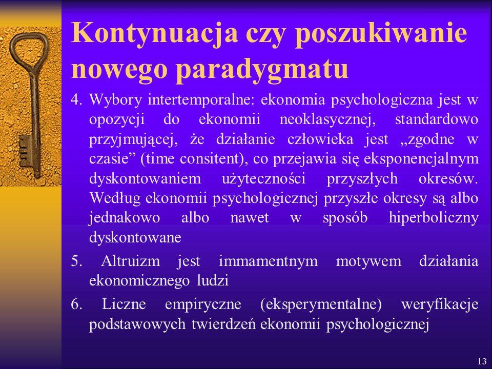 Kontynuacja czy poszukiwanie nowego paradygmatu 4. Wybory intertemporalne: ekonomia psychologiczna jest w opozycji do ekonomii neoklasycznej, standard