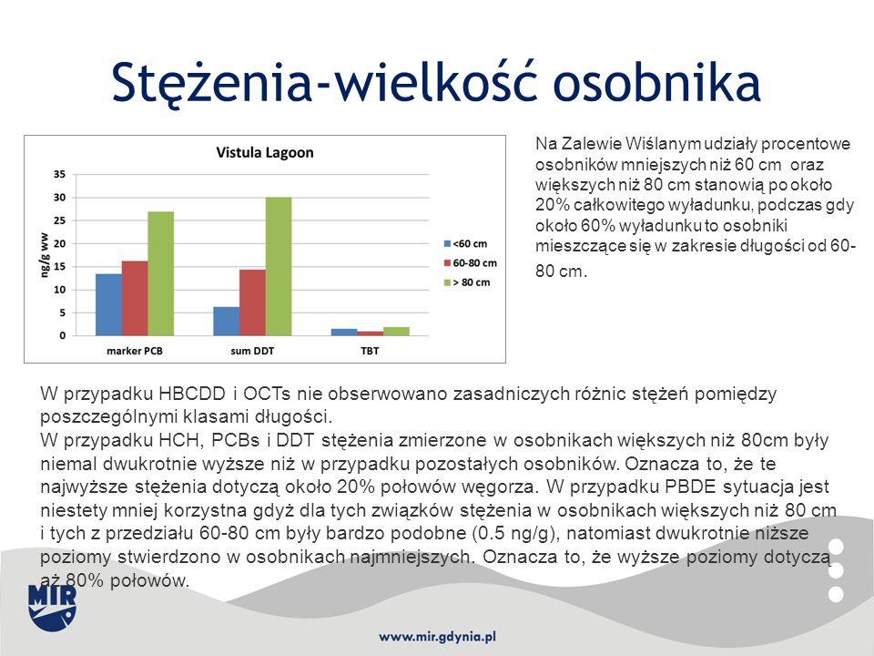 Stężenia-wielkość osobnika W przypadku HBCDD i OCTs nie obserwowano zasadniczych różnic stężeń pomiędzy poszczególnymi klasami długości. W przypadku H