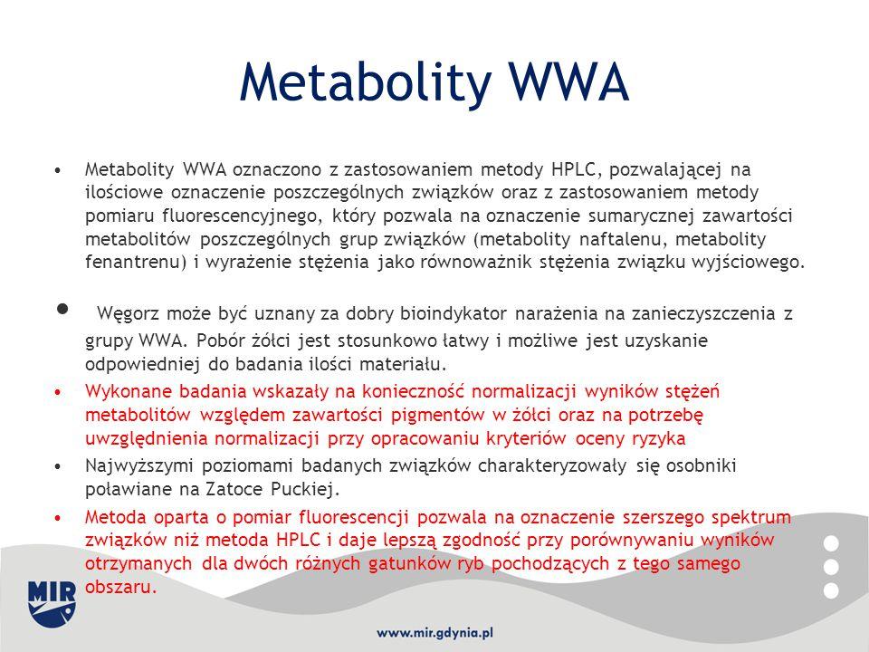 Metabolity WWA Metabolity WWA oznaczono z zastosowaniem metody HPLC, pozwalającej na ilościowe oznaczenie poszczególnych związków oraz z zastosowaniem