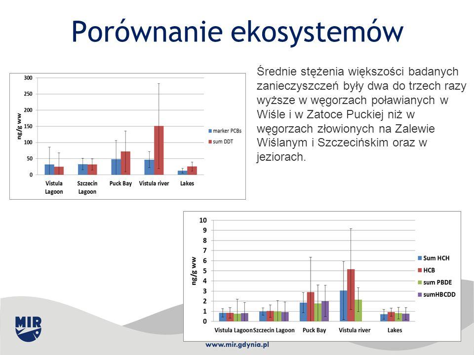Porównanie ekosystemów Średnie stężenia większości badanych zanieczyszczeń były dwa do trzech razy wyższe w węgorzach poławianych w Wiśle i w Zatoce P