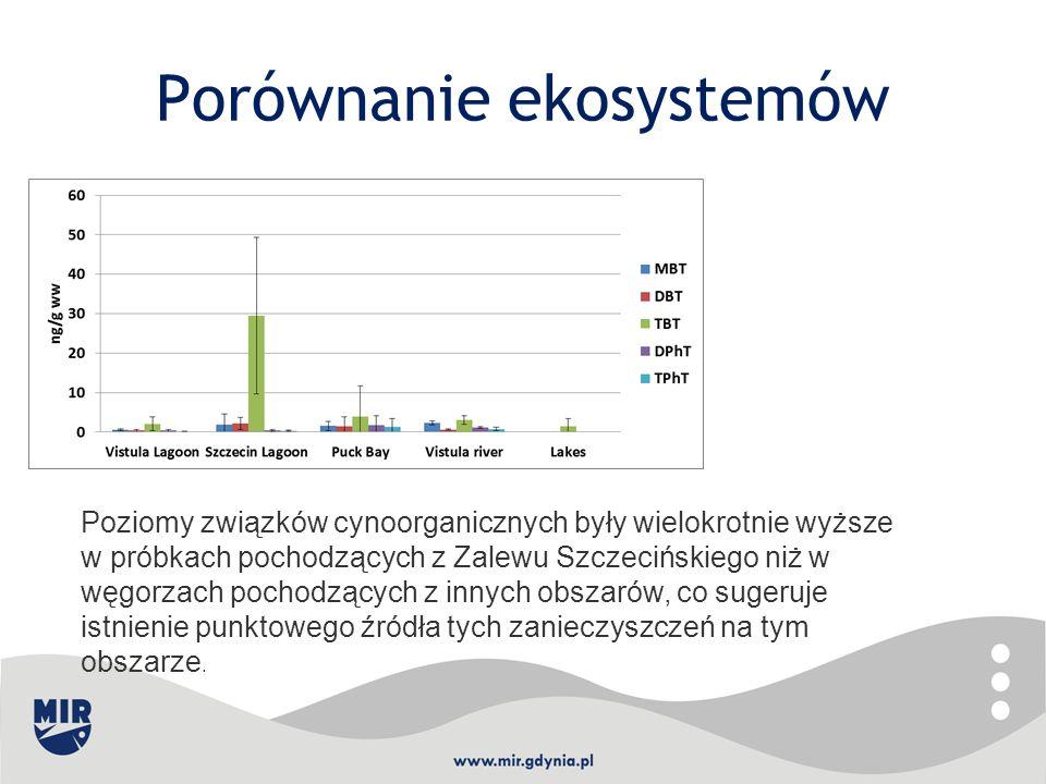 Porównanie ekosystemów Poziomy związków cynoorganicznych były wielokrotnie wyższe w próbkach pochodzących z Zalewu Szczecińskiego niż w węgorzach poch
