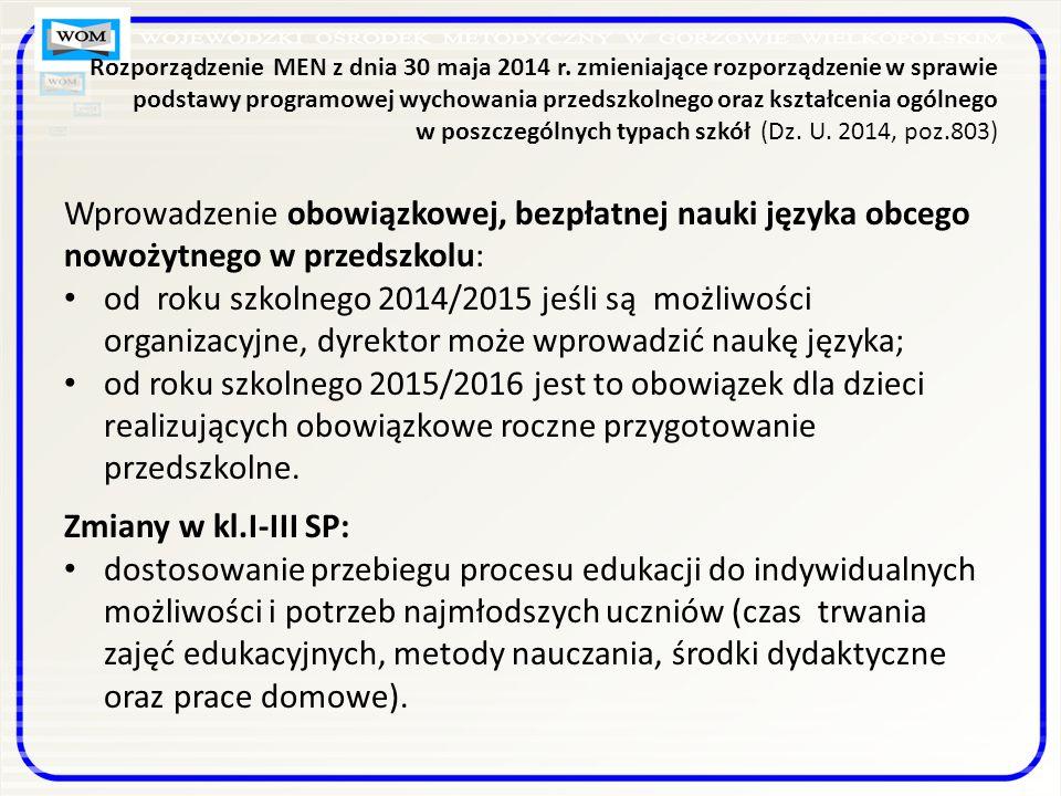 Rozporządzenie MEN z dnia 30 maja 2014 r.