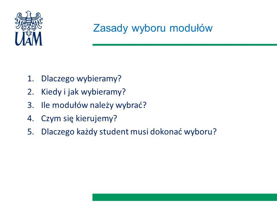 Zasady wyboru modułów 1.Dlaczego wybieramy? 2.Kiedy i jak wybieramy? 3.Ile modułów należy wybrać? 4.Czym się kierujemy? 5.Dlaczego każdy student musi