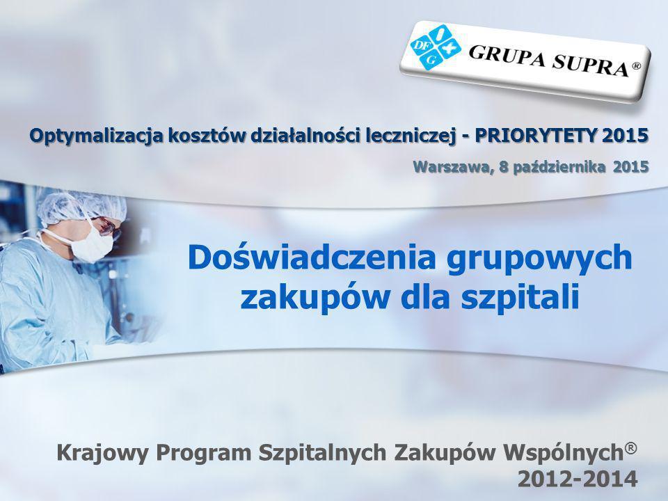 Doświadczenia grupowych zakupów dla szpitali Krajowy Program Szpitalnych Zakupów Wspólnych ® 2012-2014 Optymalizacja kosztów działalności leczniczej -