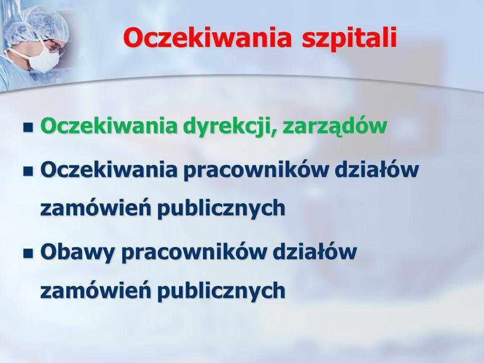 Oczekiwania szpitali Oczekiwania dyrekcji, zarządów Oczekiwania dyrekcji, zarządów Oczekiwania pracowników działów zamówień publicznych Oczekiwania pr
