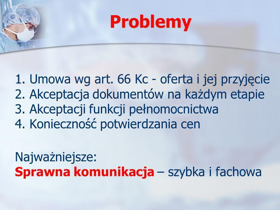 Problemy 1. 1. Umowa wg art. 66 Kc - oferta i jej przyjęcie 2. Akceptacja dokumentów na każdym etapie 3. Akceptacji funkcji pełnomocnictwa 4. Konieczn