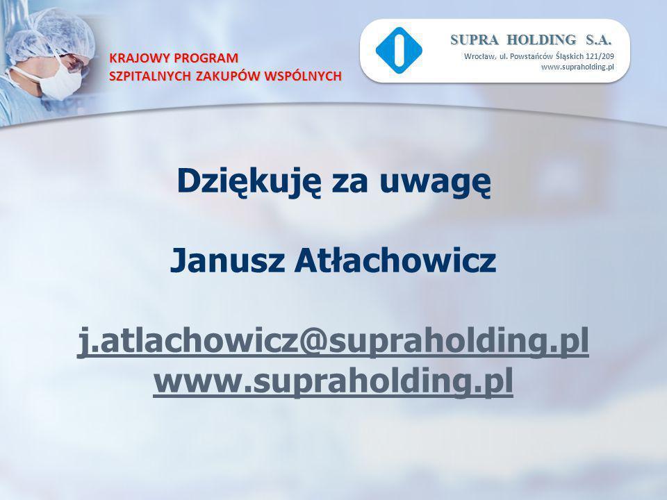 KRAJOWY PROGRAM SZPITALNYCH ZAKUPÓW WSPÓLNYCH SUPRA HOLDING S.A. Wrocław, ul. Powstańców Śląskich 121/209 www.supraholding.pl Dziękuję za uwagę Janusz