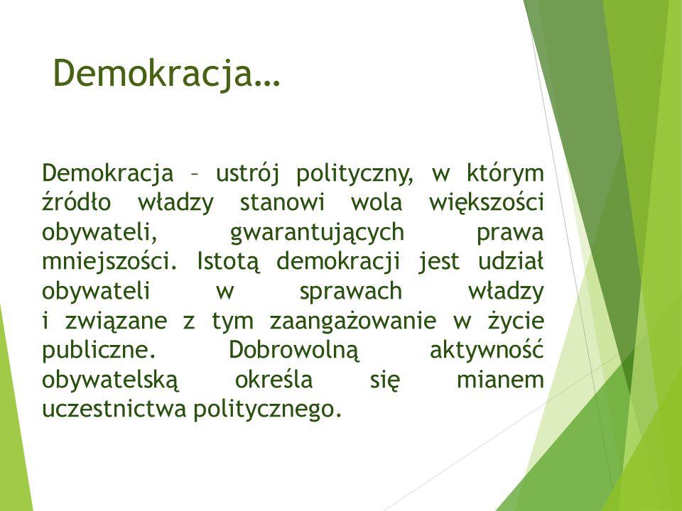 Demokracja… Demokracja – ustrój polityczny, w którym źródło władzy stanowi wola większości obywateli, gwarantujących prawa mniejszości.