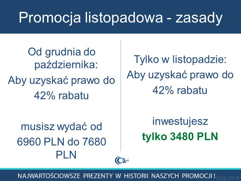 Promocja listopadowa - zasady Od grudnia do października: Aby uzyskać prawo do 42% rabatu musisz wydać od 6960 PLN do 7680 PLN Tylko w listopadzie: Aby uzyskać prawo do 42% rabatu inwestujesz tylko 3480 PLN