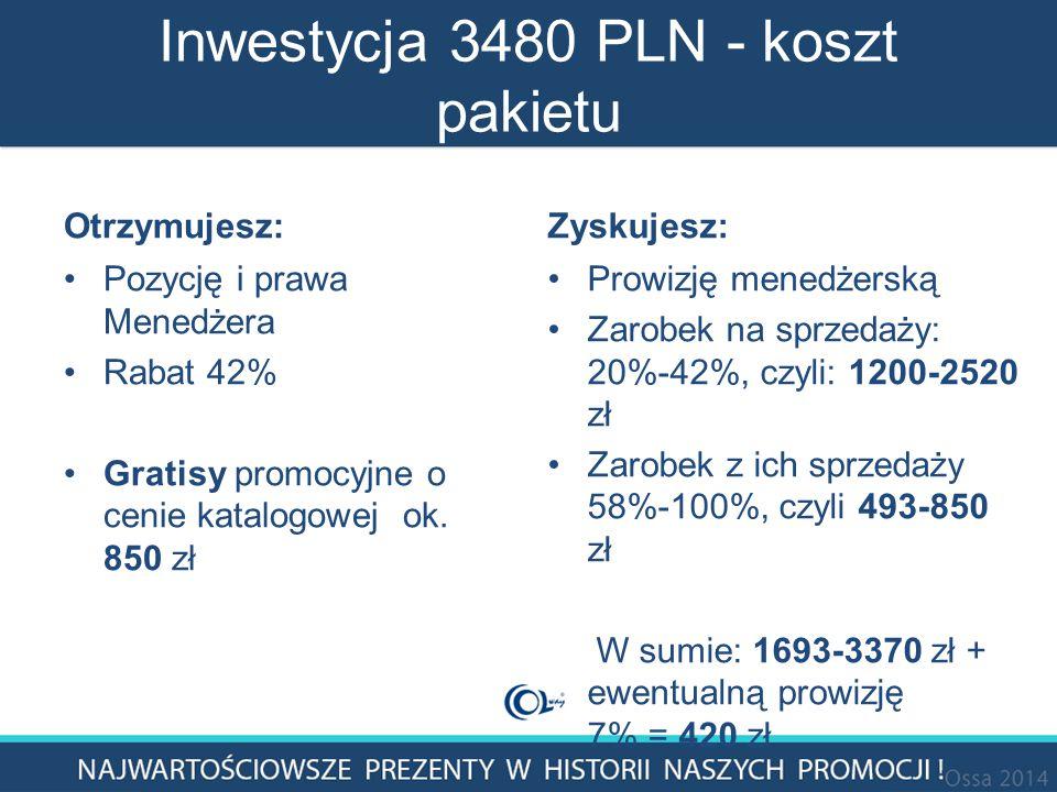 Inwestycja 3480 PLN - koszt pakietu Otrzymujesz: Pozycję i prawa Menedżera Rabat 42% Gratisy promocyjne o cenie katalogowej ok.