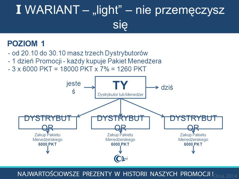 """I WARIANT – """"light – nie przemęczysz się TY Dystrybutor lub Menedżer DYSTRYBUT OR Zakup Pakietu Menedżerskiego 6000 PKT Zakup Pakietu Menedżerskiego 6000 PKT Zakup Pakietu Menedżerskiego 6000 PKT jeste ś dziś POZIOM 1 - od 20.10 do 30.10 masz trzech Dystrybutorów - 1 dzień Promocji - każdy kupuje Pakiet Menedżera - 3 x 6000 PKT = 18000 PKT x 7% = 1260 PKT"""