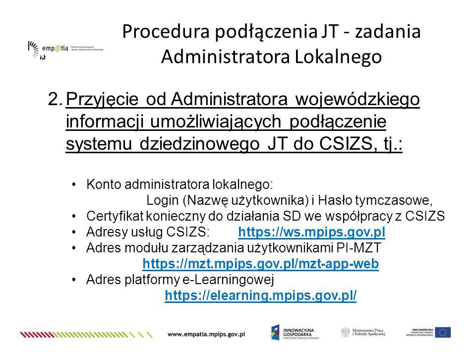 Procedura podłączenia JT - zadania Administratora Lokalnego 2.Przyjęcie od Administratora wojewódzkiego informacji umożliwiających podłączenie systemu