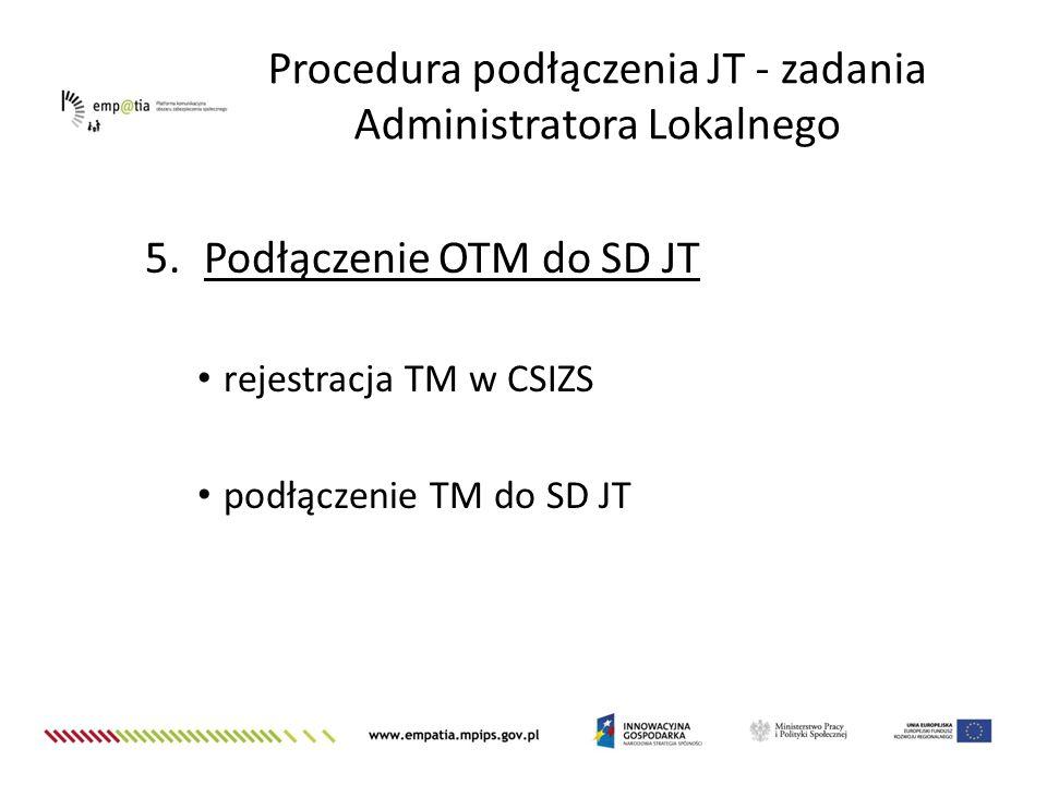 5.Podłączenie OTM do SD JT rejestracja TM w CSIZS podłączenie TM do SD JT Procedura podłączenia JT - zadania Administratora Lokalnego