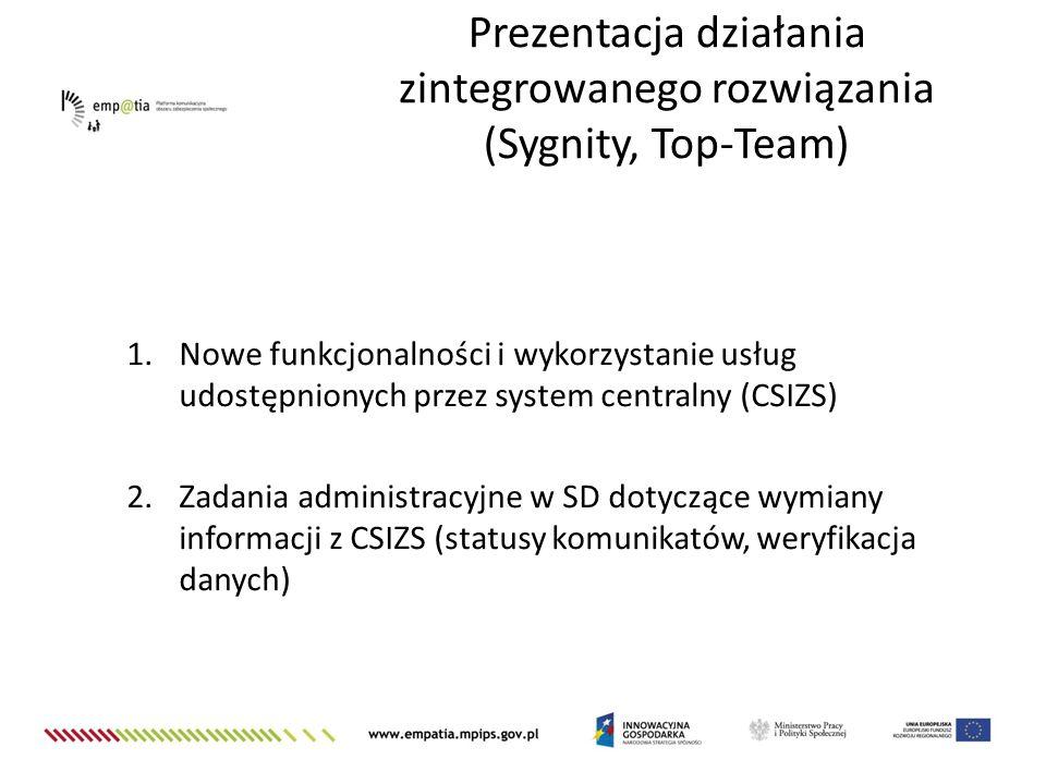 Prezentacja działania zintegrowanego rozwiązania (Sygnity, Top-Team) 1.Nowe funkcjonalności i wykorzystanie usług udostępnionych przez system centraln