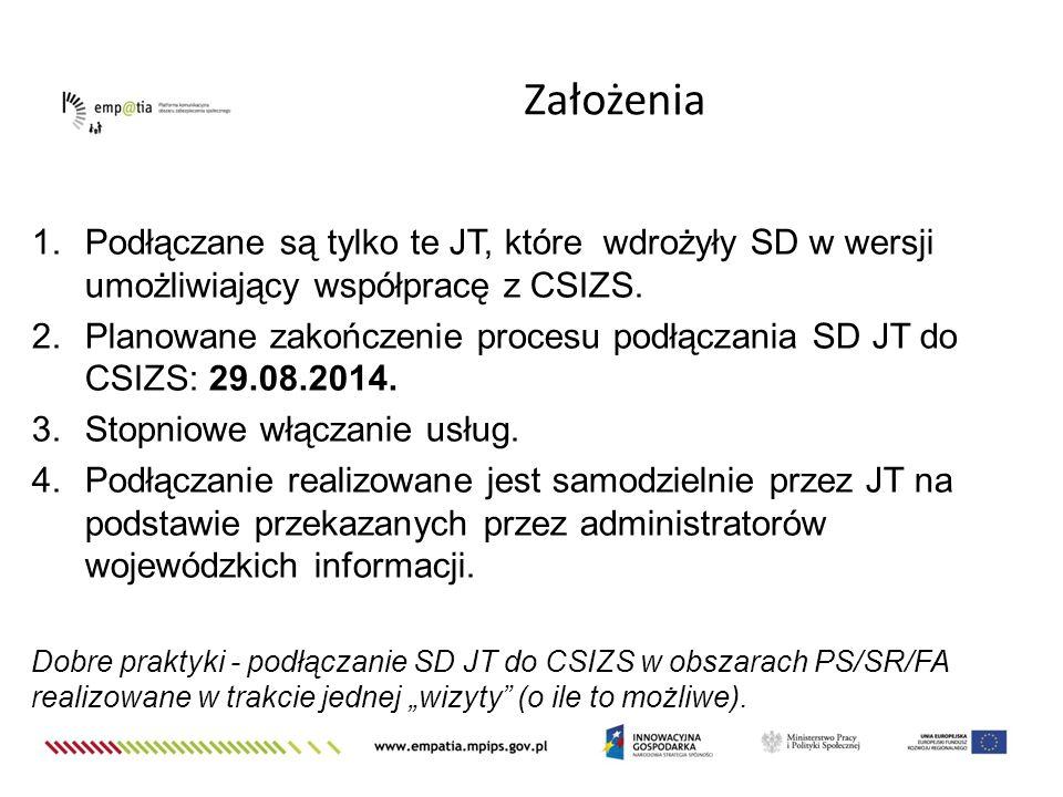 1.Podłączane są tylko te JT, które wdrożyły SD w wersji umożliwiający współpracę z CSIZS. 2.Planowane zakończenie procesu podłączania SD JT do CSIZS: