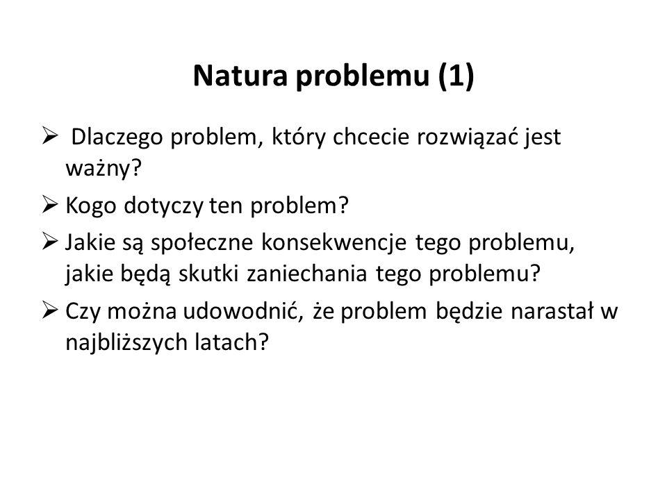 Natura problemu (1)  Dlaczego problem, który chcecie rozwiązać jest ważny.