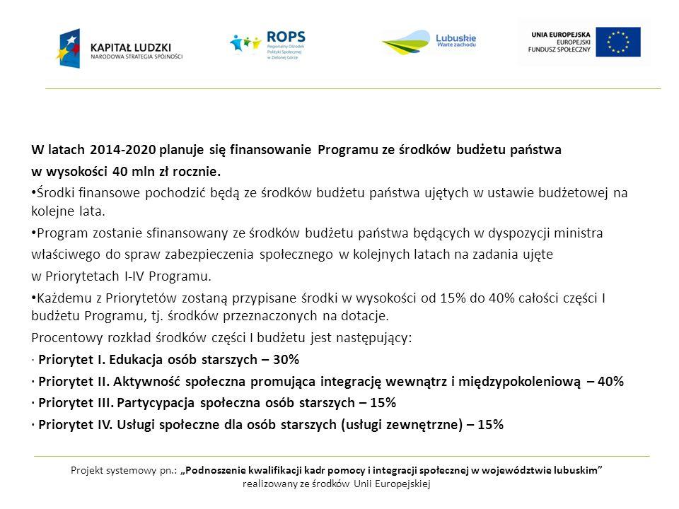 """Projekt systemowy pn.: """"Podnoszenie kwalifikacji kadr pomocy i integracji społecznej w województwie lubuskim realizowany ze środków Unii Europejskiej W latach 2014-2020 planuje się finansowanie Programu ze środków budżetu państwa w wysokości 40 mln zł rocznie."""
