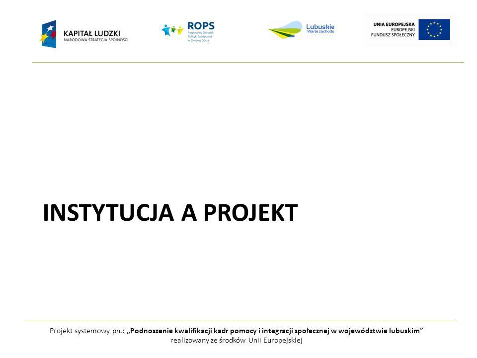 """Projekt systemowy pn.: """"Podnoszenie kwalifikacji kadr pomocy i integracji społecznej w województwie lubuskim realizowany ze środków Unii Europejskiej INSTYTUCJA A PROJEKT"""