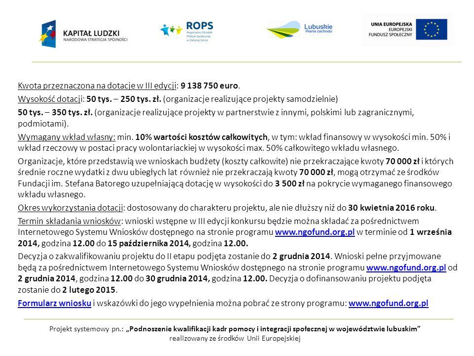 """Projekt systemowy pn.: """"Podnoszenie kwalifikacji kadr pomocy i integracji społecznej w województwie lubuskim realizowany ze środków Unii Europejskiej Kwota przeznaczona na dotacje w III edycji: 9 138 750 euro."""