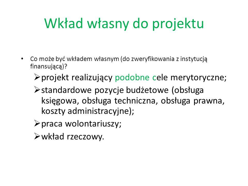 Wkład własny do projektu Co może być wkładem własnym (do zweryfikowania z instytucją finansującą).