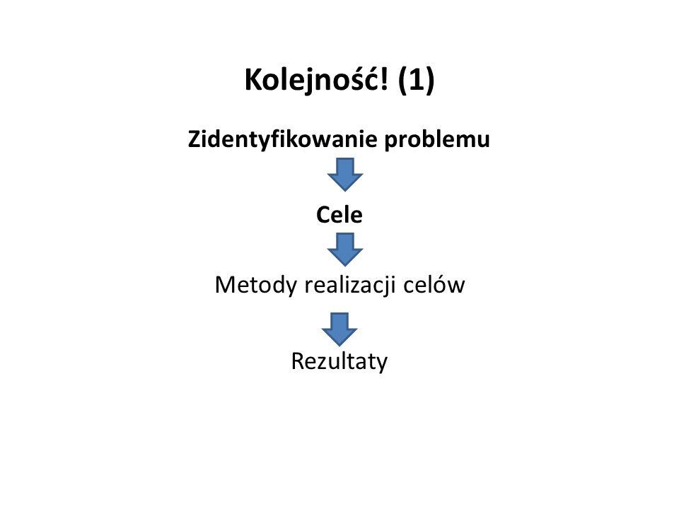 Kolejność! (1) Zidentyfikowanie problemu Cele Metody realizacji celów Rezultaty