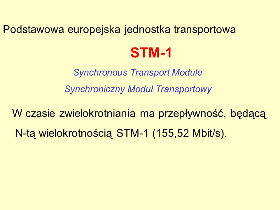 Synchroniczna hierarchia cyfrowa, kolejne przepływności podstawowe SDH: - ramka STM - 1155.5Mbit/s -ponad 2000 kanałów tel.