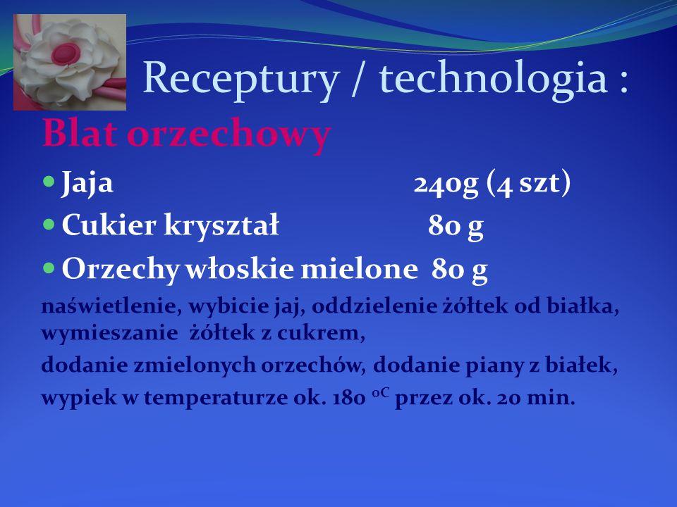 Receptury / technologia : Blat orzechowy Jaja 240g (4 szt) Cukier kryształ 80 g Orzechy włoskie mielone 80 g naświetlenie, wybicie jaj, oddzielenie żółtek od białka, wymieszanie żółtek z cukrem, dodanie zmielonych orzechów, dodanie piany z białek, wypiek w temperaturze ok.