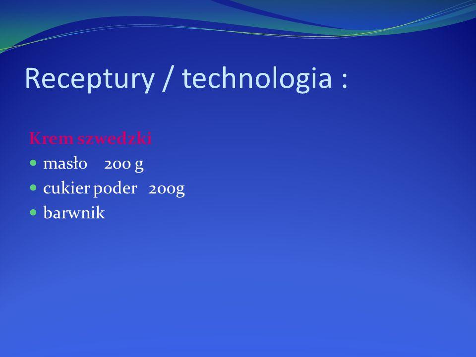 Receptury / technologia : Krem szwedzki masło 200 g cukier poder 200g barwnik