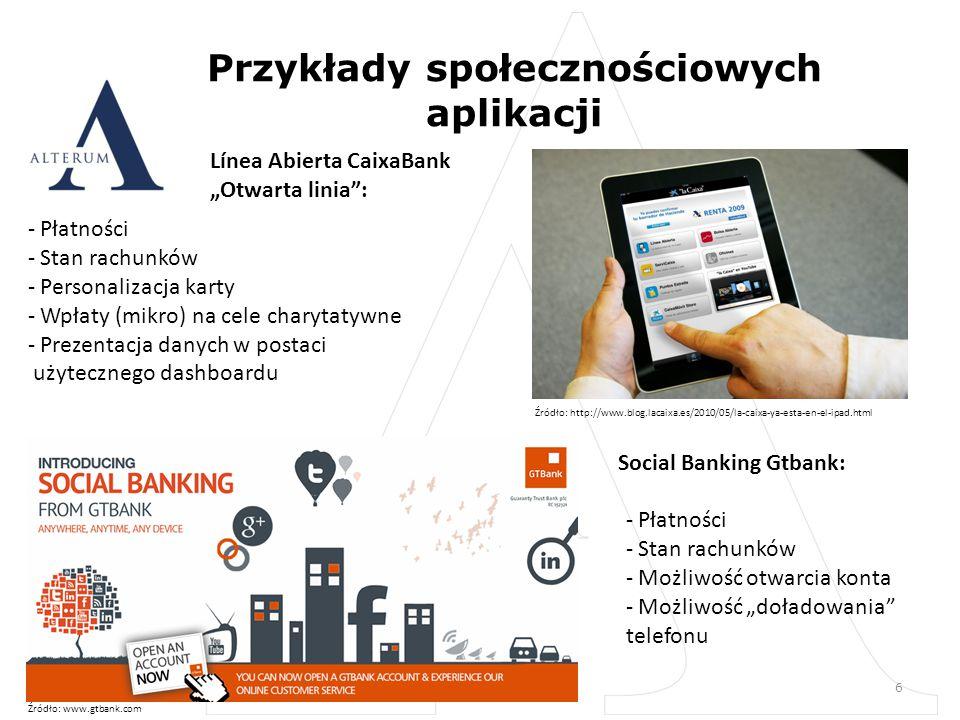 """Przykłady społecznościowych aplikacji 6 Línea Abierta CaixaBank """"Otwarta linia : - Płatności - Stan rachunków - Personalizacja karty - Wpłaty (mikro) na cele charytatywne - Prezentacja danych w postaci użytecznego dashboardu Social Banking Gtbank: - Płatności - Stan rachunków - Możliwość otwarcia konta - Możliwość """"doładowania telefonu Źródło: www.gtbank.com Źródło: http://www.blog.lacaixa.es/2010/05/la-caixa-ya-esta-en-el-ipad.html"""