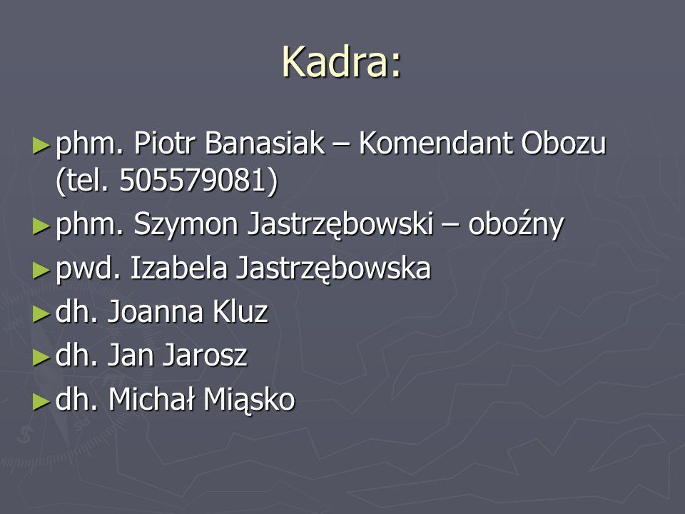 Kadra: ► phm. Piotr Banasiak – Komendant Obozu (tel. 505579081) ► phm. Szymon Jastrzębowski – oboźny ► pwd. Izabela Jastrzębowska ► dh. Joanna Kluz ►