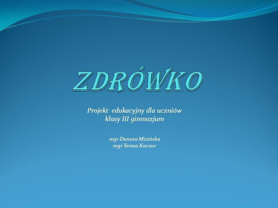 Projekt edukacyjny dla uczniów klasy III gimnazjum mgr Danuta Mizińska mgr Teresa Kaczor