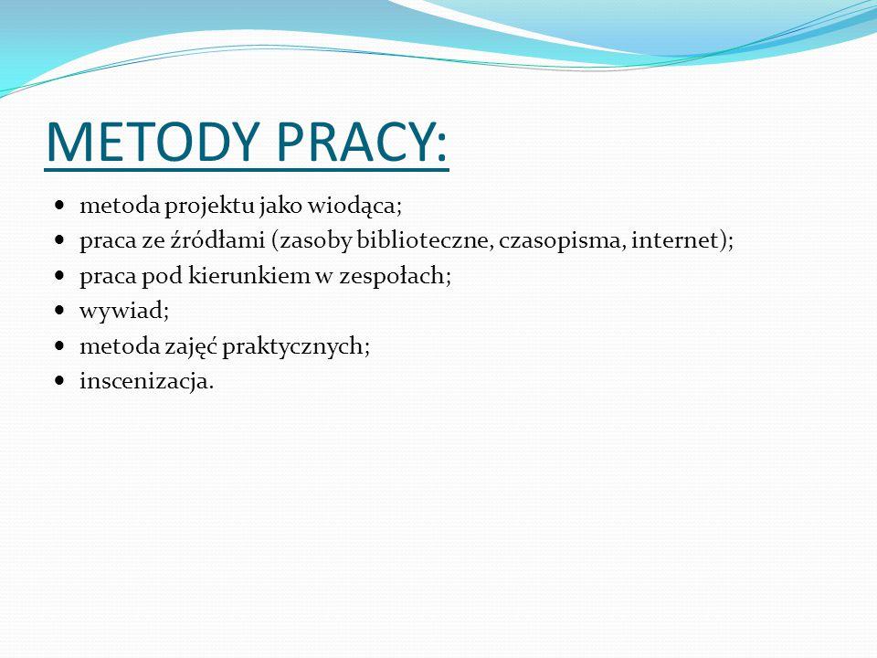 METODY PRACY: metoda projektu jako wiodąca; praca ze źródłami (zasoby biblioteczne, czasopisma, internet); praca pod kierunkiem w zespołach; wywiad; metoda zajęć praktycznych; inscenizacja.